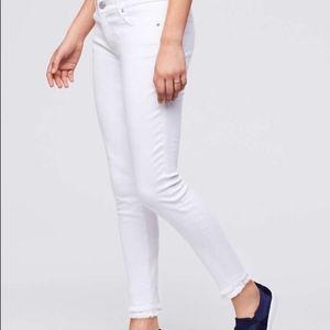 Loft | Curvy Skinny Double Raw Hem Ankle Jeans